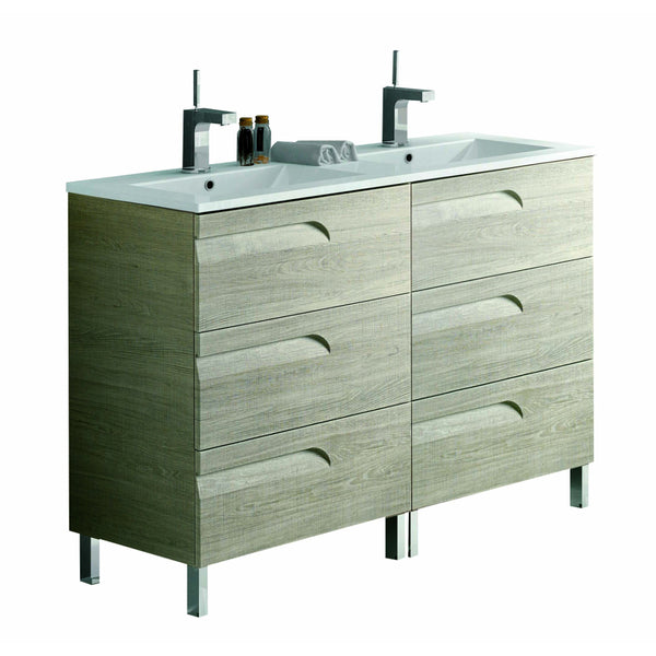 "Eviva Vitta 48"" Maple Modern Bathroom Vanity with White Integrated Porcelain Sink"
