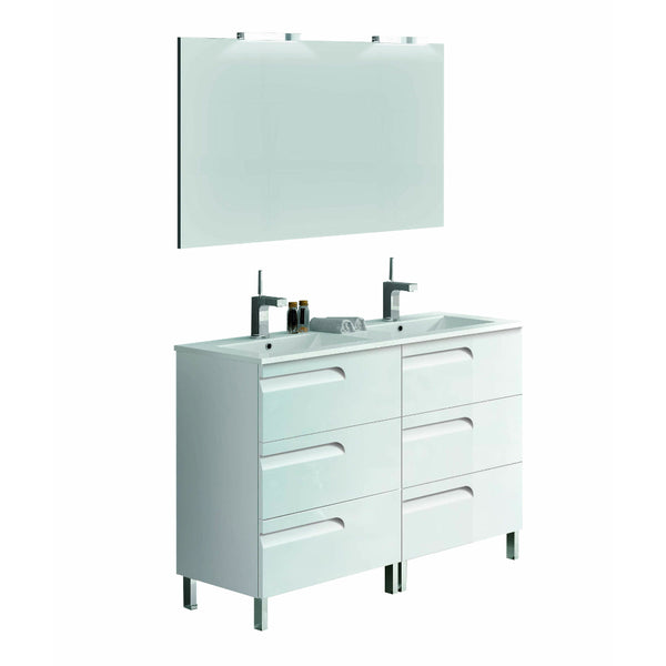 "Eviva Vitta 48"" White Modern Bathroom Vanity with White Integrated Porcelain Sink"