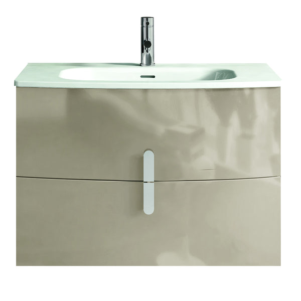 "Eviva Cali 31"" Wall Mount Brown Modern Bathroom Vanity with White Integrated Porcelain Sink"