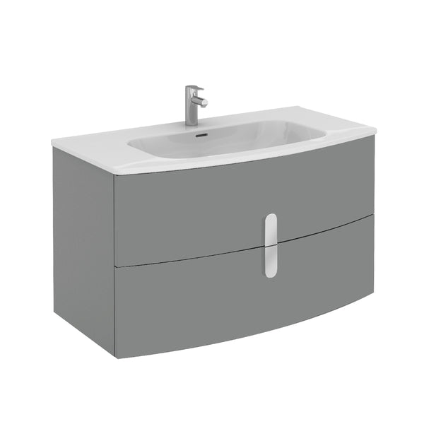 "Eviva Cali 39"" Wall Mount Grey Modern Bathroom Vanity with White Integrated Porcelain Sink"