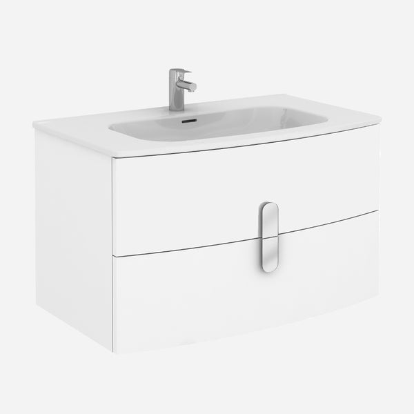 "Eviva Cali 39"" Wall Mount White Modern Bathroom Vanity with White Integrated Porcelain Sink"