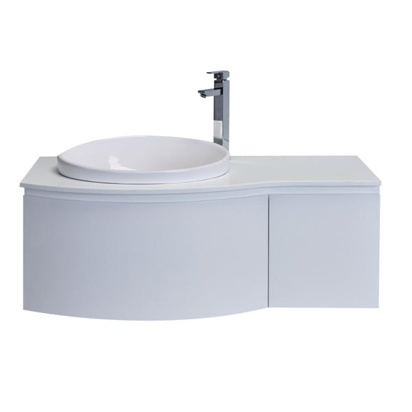 "Eviva Curvy 48"" White Modern Bathroom Vanity, Wall Mount with Glassos Counter-top & Sink"