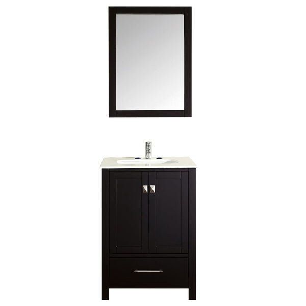 Eviva Aberdeen 24 Transitional Espresso Bathroom Vanity with White Carrera Countertop