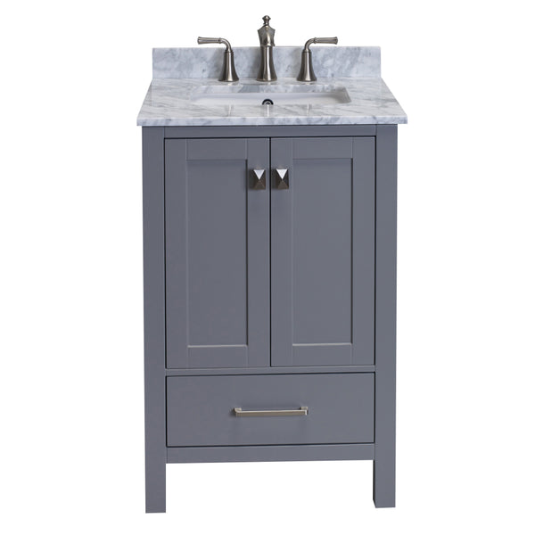 Eviva Aberdeen 24 Transitional Grey Bathroom Vanity with White Carrera Countertop