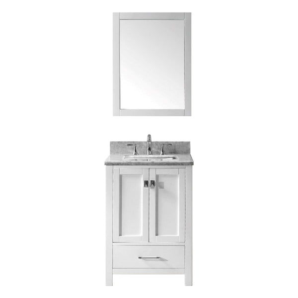 Eviva Aberdeen 24 Transitional White Bathroom Vanity with White Carrera Countertop