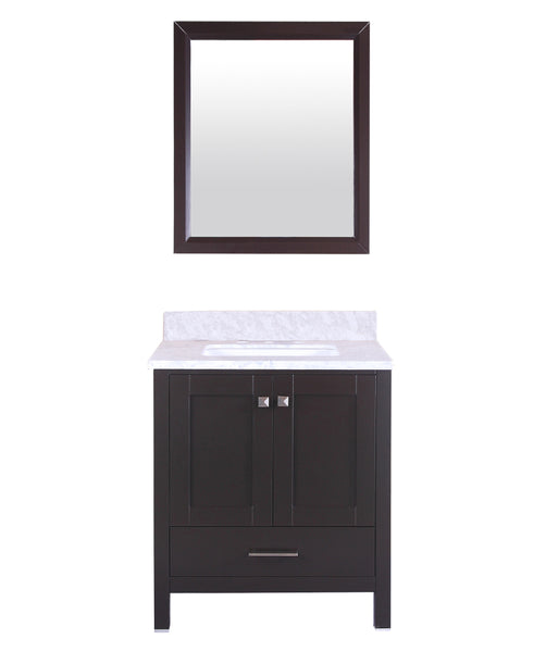 Eviva Aberdeen 30 Transitional Espresso Bathroom Vanity with White Carrera Countertop