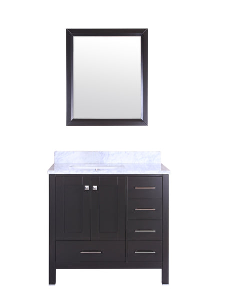 Eviva Aberdeen 36 Transitional Espresso Bathroom Vanity with White Carrera Countertop