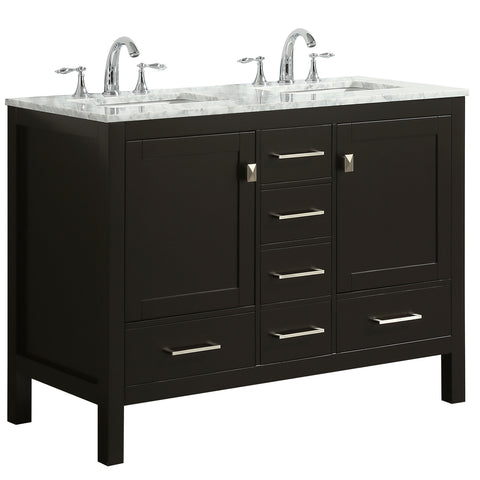 "Eviva Aberdeen 48"" Espresso Transitional Double Sink Bathroom Vanity w/ White Carrara Top"