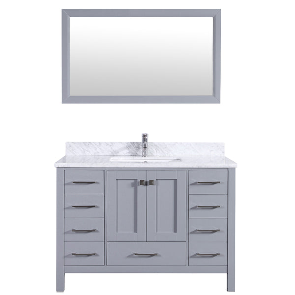 "Eviva Aberdeen 48"" Transitional Grey Bathroom Vanity with White Carrera Countertop & Square Sink"