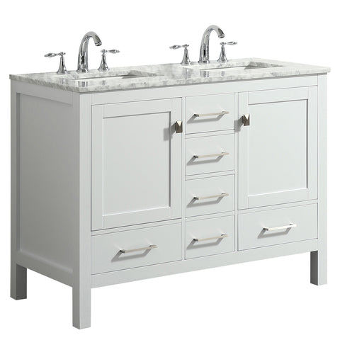 "Eviva Aberdeen 48"" White Transitional Double Sink Bathroom Vanity w/ White Carrara Top"