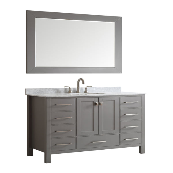 Eviva Aberdeen 60 Transitional Grey Single Bathroom Vanity with White Carrera Countertop