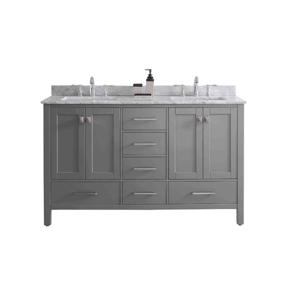 "Eviva Aberdeen 60"" Transitional Grey Bathroom Vanity with White Carrera Countertop & Double Square Sinks"