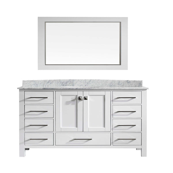 Eviva Aberdeen 60 Transitional White Single Bathroom Vanity with White Carrera Countertop
