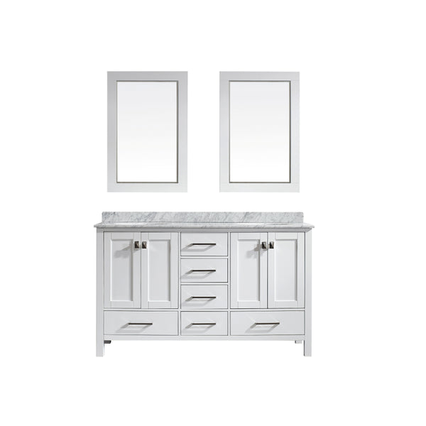 Eviva Aberdeen 60 Transitional White Bathroom Vanity with White Carrera Countertop