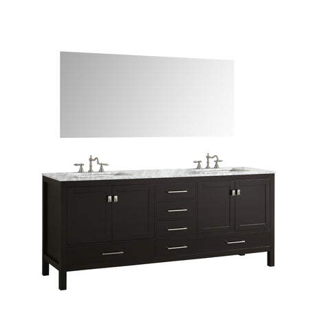 "Eviva Aberdeen 78"" Espresso Transitional Double Sink Bathroom Vanity w/ White Carrara Top"
