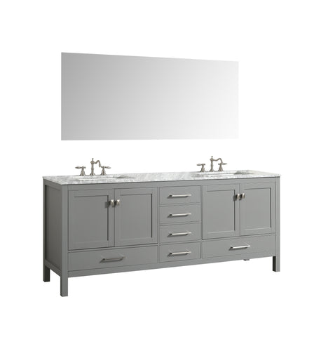 "Eviva Aberdeen 84"" Gray Transitional Double Sink Bathroom Vanity w/ White Carrara Top"