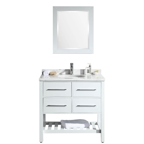 "Eviva Natalie F.? 36"" White Bathroom Vanity with White Carrera Marble Counter-top & White Porcelain Sink"