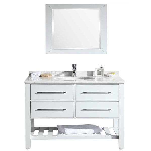 "Eviva Natalie F.? 42"" White Bathroom Vanity with White Carrera Marble Counter-top & White Porcelain Sink"
