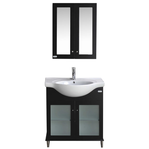 "Eviva TUX?  24"" Inch Espresso Bathroom Vanity with a white Porcelain Sink"