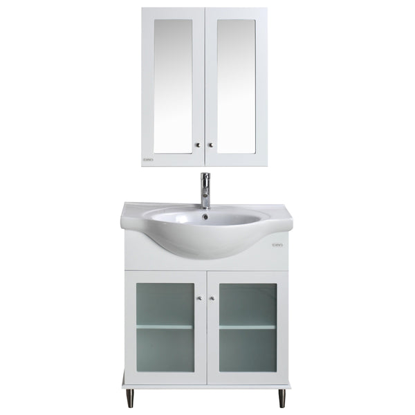 "Eviva TUX?  24"" Inch White Bathroom Vanity with a white Porcelain Sink"