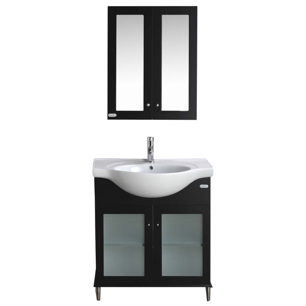 "Eviva Tux? 30"" Espresso Transitional Bathroom Vanity with Integrated Porcelain Sink"