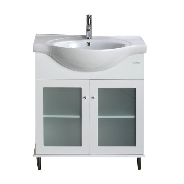 "Eviva Tux? 30"" White Transitional Bathroom Vanity  with White Integrated Porcelain Sink"