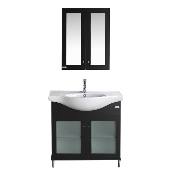 "Eviva Tux? 36"" Espresso Transitional Bathroom Vanity with White Integrated Porcelain Sink"