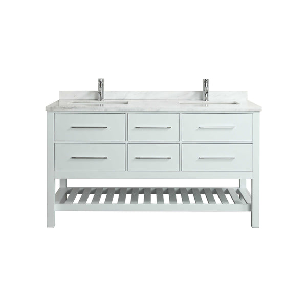 "Eviva Natalie F.? 72"" White Bathroom Vanity with White Carrera Marble Counter-top & Double Porcelain Sinks"