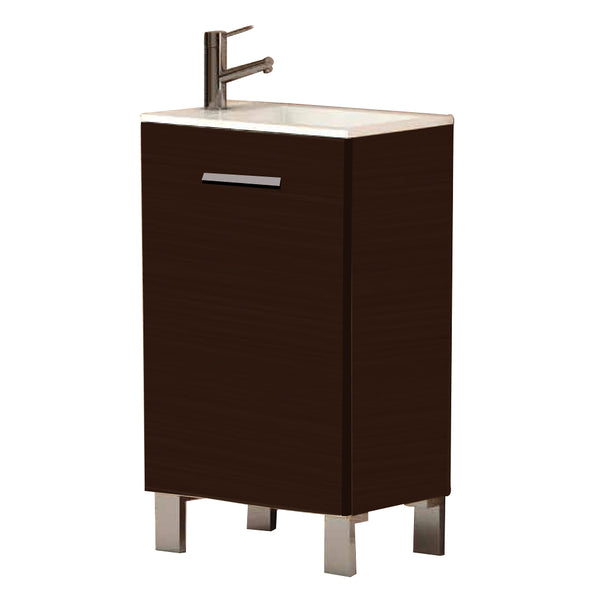 "Eviva Kandy? 20"" Wenge Modern Bathroom Vanity with White integrated Acrylic Sink"