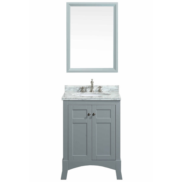 "Eviva New York 24"" Grey Bathroom Vanity, with White Marble Carrera Counter-top, & Sink"