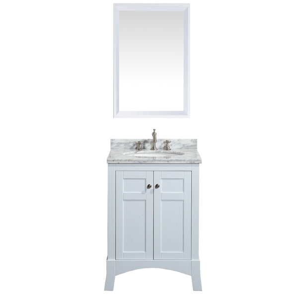 "Eviva New York 24"" White Bathroom Vanity, with White Marble Carrera Counter-top, & Sink"