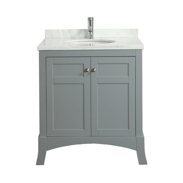 "Eviva New York 30"" Grey Bathroom Vanity, with White Marble Carrera Counter-top, & Sink"