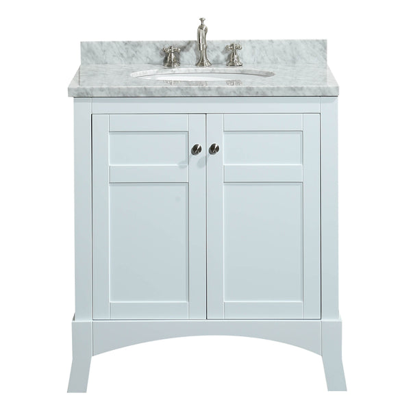 "Eviva New York 30"" White Bathroom Vanity, with White Marble Carrera Counter-top, & Sink"