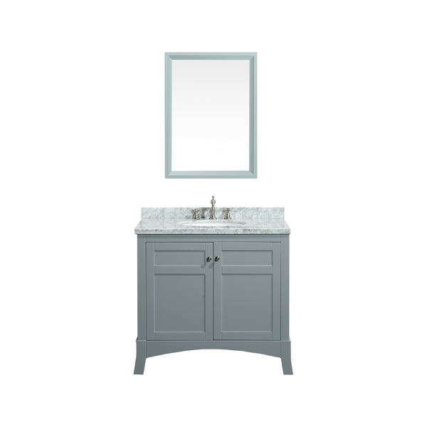 "Eviva New York 36"" Grey Bathroom Vanity, with White Marble Carrera Counter-top, & Sink"