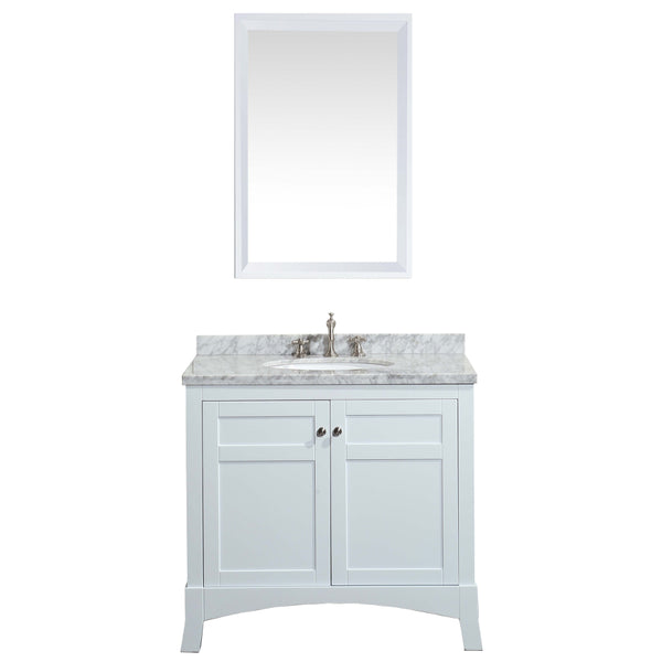 "Eviva New York 36"" White Bathroom Vanity, with White Marble Carrera Counter-top, & Sink"