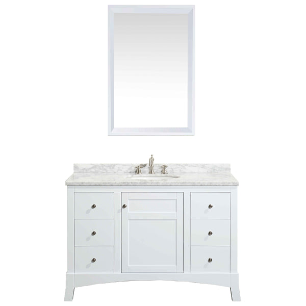 "Eviva New York 48"" White Bathroom Vanity, with White Marble Carrera Counter-top, & Sink"
