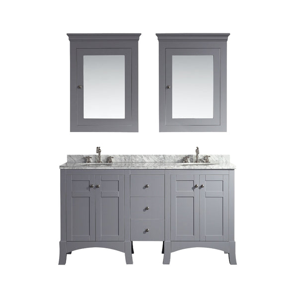 "Eviva New York 60"" Grey Bathroom Vanity, with White Marble Carrera Counter-top, & Sink"