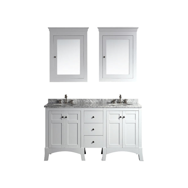 "Eviva New York 60"" White Bathroom Vanity, with White Marble Carrera Counter-top, & Sink"