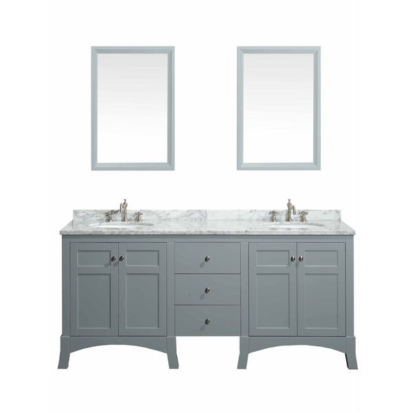 "Eviva New York 72"" Grey Bathroom Vanity, with White Marble Carrera Counter-top, & Sink"