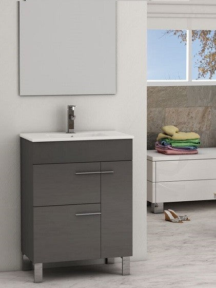 "Eviva Cup? 24"" Grey Modern Bathroom Vanity with White Integrated Porcelain Sink"
