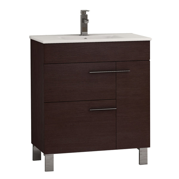 "Eviva Cup? 24"" Wenge (Dark Brown) Modern Bathroom Vanity with White Integrated Porcelain Sink"