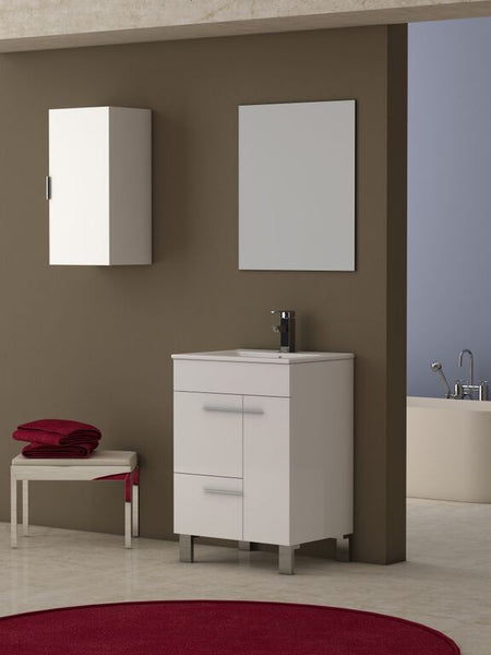 "Eviva Cup? 24"" White Modern Bathroom Vanity with White Integrated Porcelain Sink"