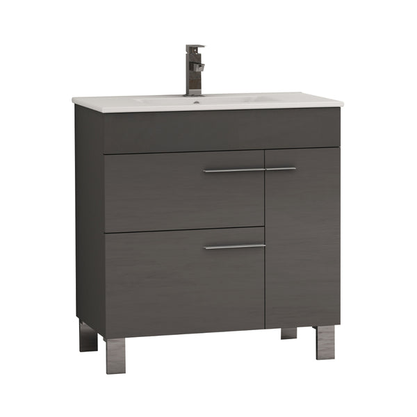 "Eviva Cup? 31.5"" Grey Modern Bathroom Vanity with White Integrated Porcelain Sink"