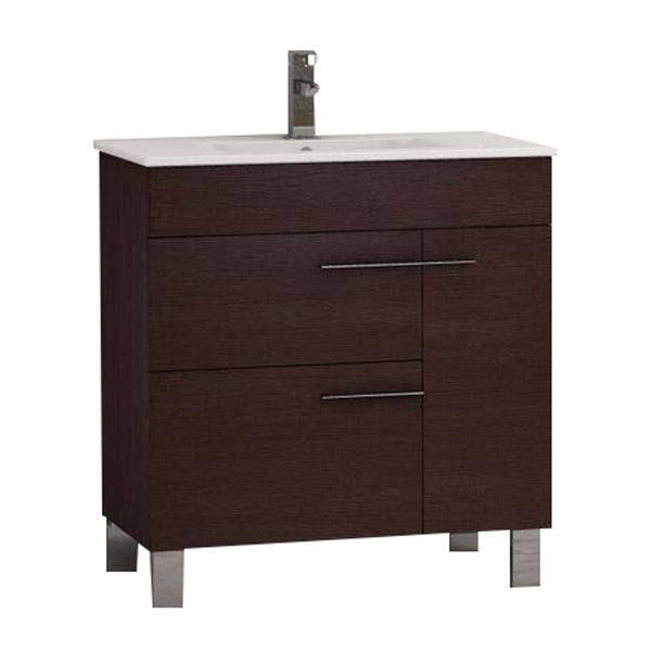 "Eviva Cup? 31.5"" Wenge (Dark Brown) Modern Bathroom Vanity with White Integrated Porcelain Sink"