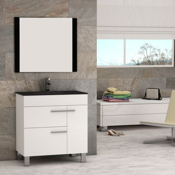 "Eviva Cup? 31.5"" White Modern Bathroom Vanity with White Integrated Porcelain Sink"