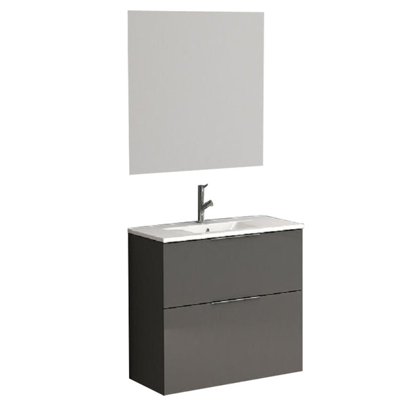 "Eviva Galsaky 24"" Grey Modern Bathroom Vanity Wall Mount with White Integrated Porcelain Sink"