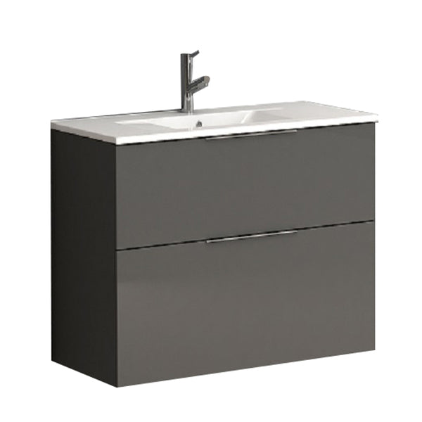 "Eviva Galsaky 28"" Grey Modern Bathroom Vanity Wall Mount with White Integrated Porcelain Sink"