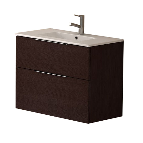 "Eviva Galsaky 28"" Wenge Modern Bathroom Vanity Wall Mount with White Integrated Porcelain Sink"