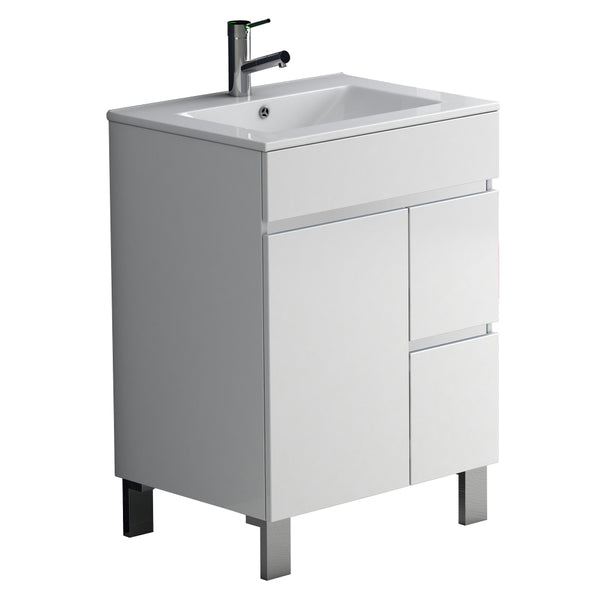 "Eviva Link? 24"" White Modern Bathroom Vanity with White Integrated Porcelain sink"