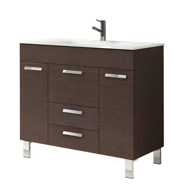 "Eviva Venus? 36"" Wenge Modern Bathroom Vanity  Wall Mount with White Integrated Porcelain Sink"